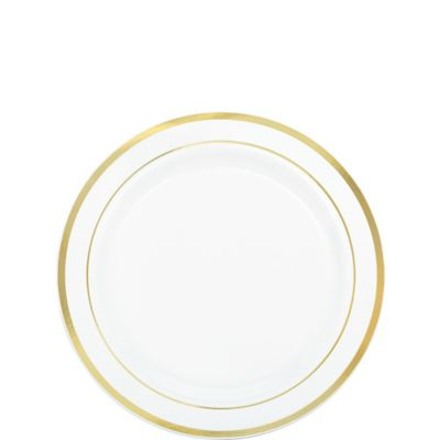 White Gold Trimmed Premium Plastic Appetizer Plates 20ct