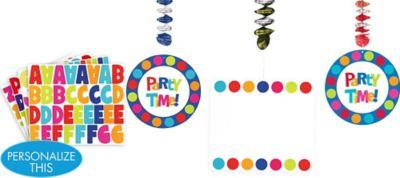 Cabana Polka Dot Personalize It Dangling Decoration Kit 7pc