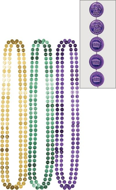 Coin Mardi Gras Bead Necklaces 6ct
