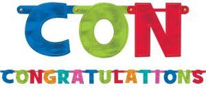 Congratulations Letter Banner - Cabana Polka Dot