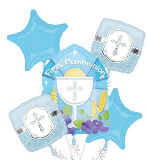 First Communion Balloon Bouquet 5pc - Blue Blessings