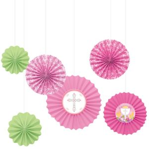 Pink First Communion Paper Fan Decorations 6ct