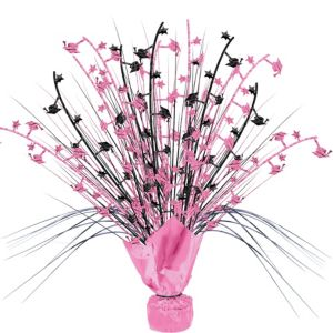 Pink & Black Graduation Spray Centerpiece