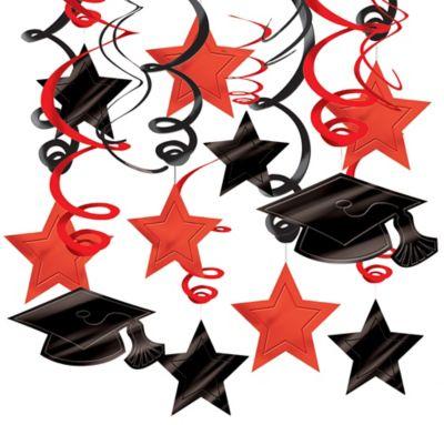 Red Graduation Swirl Decorations 30ct