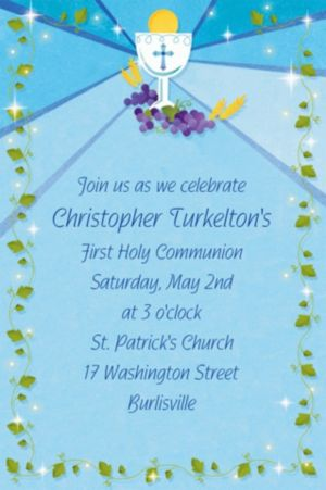 Custom Blue First Communion Invitations