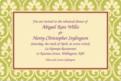 Custom Natural Damask Invitations