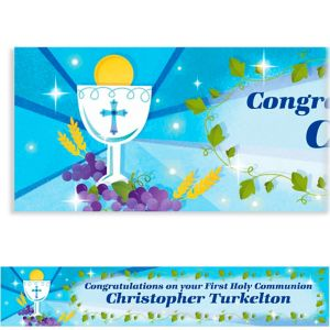 Custom Blue First Communion Banner 6ft
