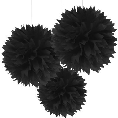 Black Fluffy Decorations 16in 3ct