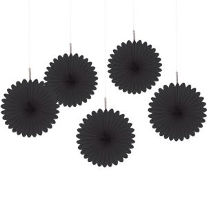 Black Mini Paper Fan Decorations 5ct