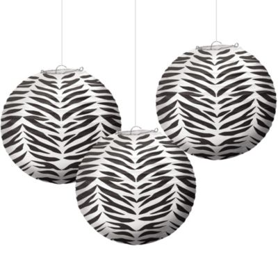 Zebra Print Paper Lanterns 9 1/2in 3ct