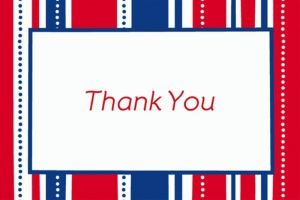 Custom American Summer Stripes Welcome Home Thank You Notes