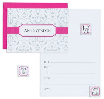 Bright Pink Invitations 8ct