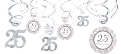 25th Anniversary Swirl Decorations 12ct