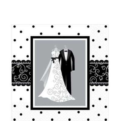 Black & White Wedding Lunch Napkins 16ct
