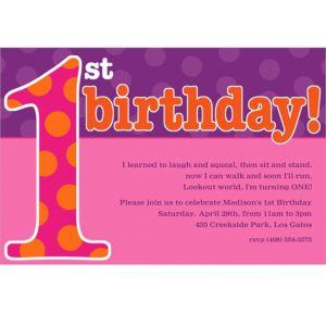 Custom Big 1st Birthday Pink Invitations