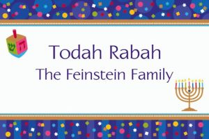 Custom Hanukkah Celebrations Thank You Notes