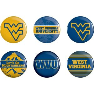 West Virginia Mountaineers Buttons 6ct