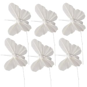 White Feather Butterfly Pick Wedding Favor Accessory 6ct