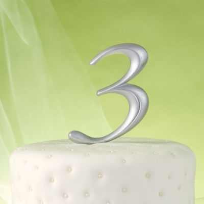 Silver Number 3 Cake Topper
