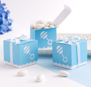 Blue Rattle Baby Shower Favor Box Kit 25ct