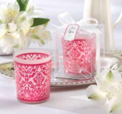 Pink Damask Candle Holder