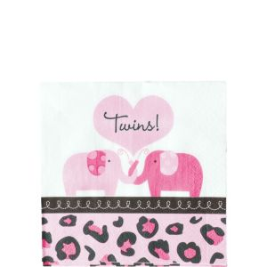 Pink Safari Twins Baby Shower Beverage Napkins 36ct