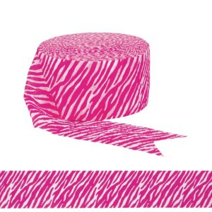 Bright Pink Zebra Print Streamer