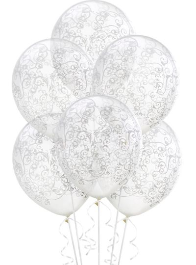 Clear Filigree Balloons 6ct
