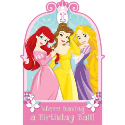 1st Birthday Disney Princess Invitations 8ct