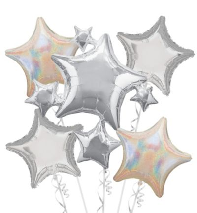 Silver Stars Balloon Bouquet 5pc