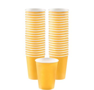 BOGO Sunshine Yellow Paper Coffee Cups 12oz 40ct