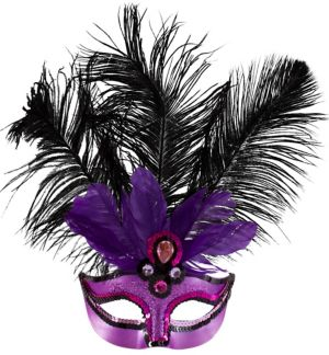 Purple Temptation Feather Masquerade Mask