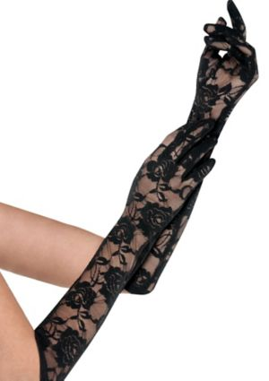 Black Floral Lace Gloves