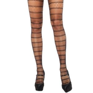 Adult Black Striped Panel Fishnet Pantyhose