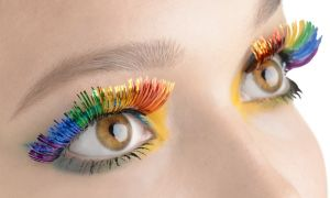 Self-Adhesive Rainbow Tinsel False Eyelashes