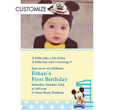 Custom Mickey Mouse 1st Birthday Photo Invitations
