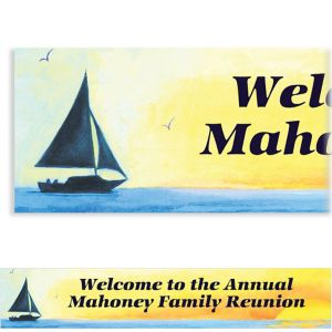 Custom Silhouette Sailboat Banner 6ft