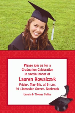 Custom Red Congrats Grad Photo Invitations