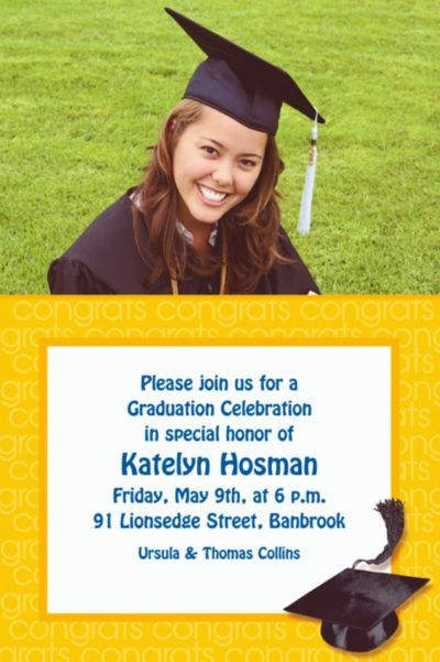 Custom Yellow Congrats Grad Photo Invitations