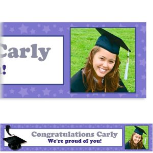 Custom Purple Congrats Grad Photo Banner 6ft