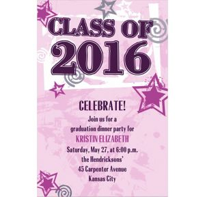 Custom Pink Class Year with Stars Graduation Invitations