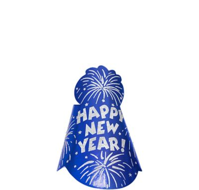 Foil Blue New Year's Cone Hat