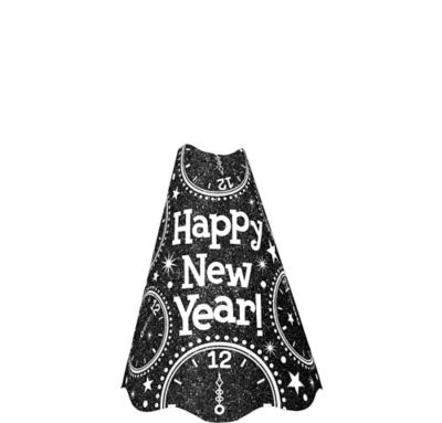Glitter Black New Year's Cone Hat