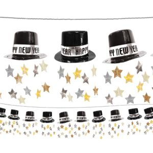 Black, Gold & Silver Top Hat Garland