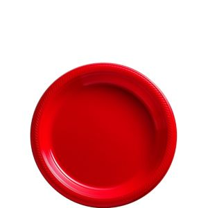 Red Plastic Dessert Plates 20ct