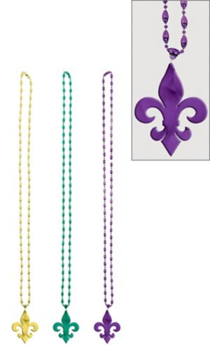 Mardi Gras Beads with Fleur De Lys Pendant 3ct