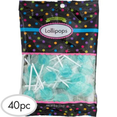 Robin's Egg Blue Lollipops 48pc