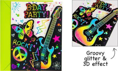 Neon Scribble Invitations 8ct