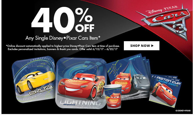 Cars 3 Party Supplies Shop Now