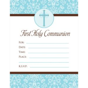 Blue First Communion Invitations 20ct